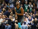 Charlotte Hornets' Kemba Walker celebrates on November 19, 2018