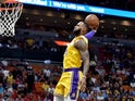 LeBron James dunks for the LA Lakers on November 18, 2018