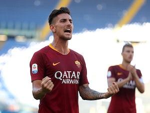Roma's Lorenzo Pellegrini celebrates after scoring against Lazio in September 2018