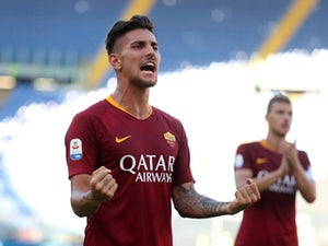 Roma's Lorenzo Pellegrini celebrates after scoring against Lazio in September 2018