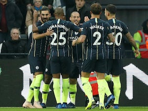 Manchester City players celebrate David Silva's goal against West Ham United on November 24, 2018