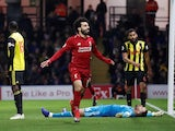 Liverpool's Mohamed Salah celebrates after scoring during his side's Premier League clash with Watford on November 24, 2018