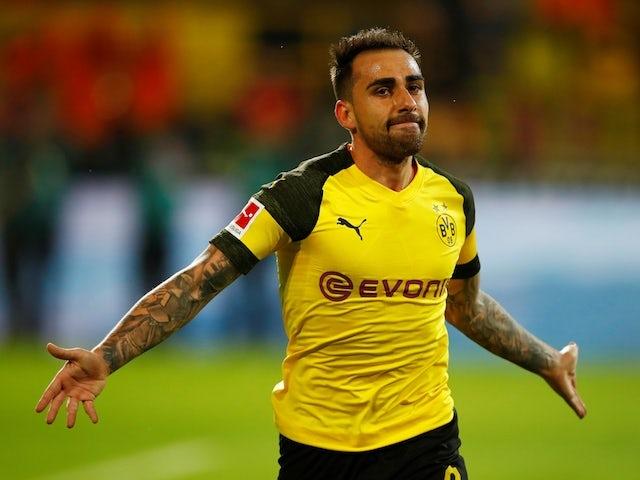 Paco Alcacer celebrates scoring for Borussia Dortmund