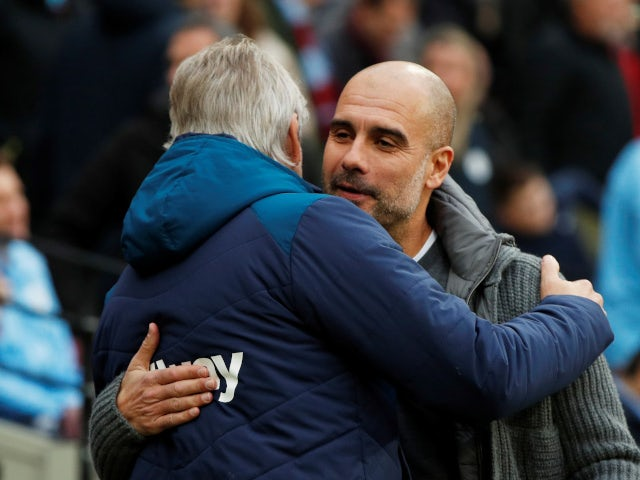 Pep Guardiola and Manuel Pellegrini greet each other ahead of West Ham 'sPremier League game with Manchester City.