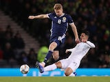 Stuart Armstrong playing for Scotland on November 21, 2018