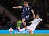 Stuart Armstrong playing for Scotland on November 21, 2018