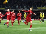 Liverpool's Trent Alexander-Arnold celebrates after scoring during his side's Premier League clash with Watford on November 24, 2018