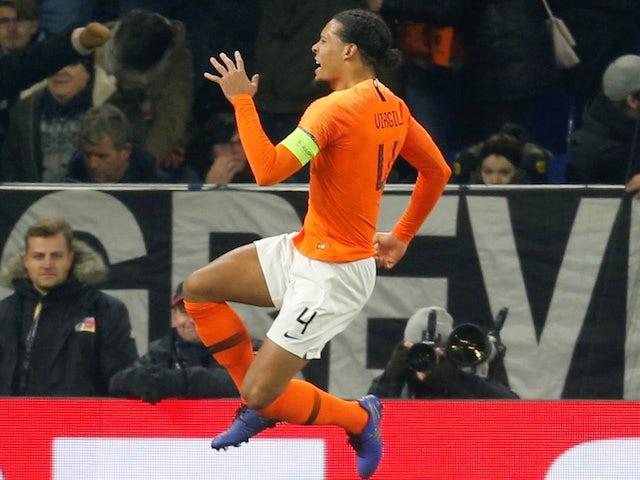 Virgil van Dijk celebrates scoring for Netherlands on November 19, 2018