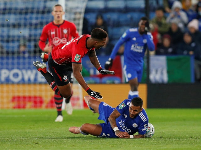Leicester City's Danny Simpson fouls Southampton's Mario Lemina in the sides' EFL Cup fourth-round tie on November 27, 2018