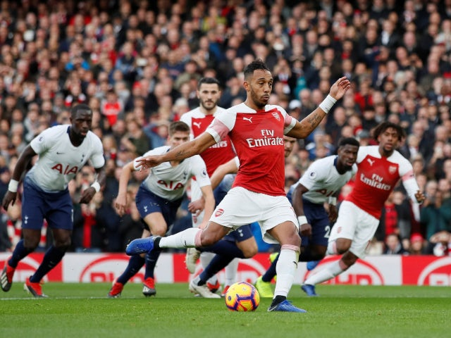 Pierre-Emerick Aubameyang stepping up to take - and score - a penalty for Arsenal against Tottenham Hotspur on December 2, 2018