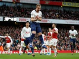 Harry Kane celebrates after putting Tottenham Hotspur in front against Arsenal on December 2, 2018
