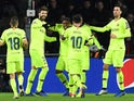 Barcelona players celebrate scoring against PSV Eindhoven on November 28, 2018