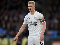 Ben Mee sports the Rainbow Laces band during the Premier League game between Crystal Palace and Burnley on December 1, 2018