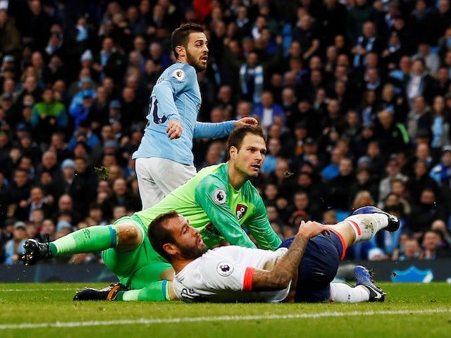 Bernardo Silva scores the opener during the Premier League game between Manchester City and Bournemouth on December 1, 2018