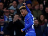 Callum Hudson-Odoi celebrates his first senior goal for Chelsea in the win over PAOK on November 29, 2018