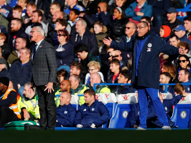 Claudio Ranieri and Maurizio Sarri on the touchline as Chelsea play Fulham on December 2, 2018.