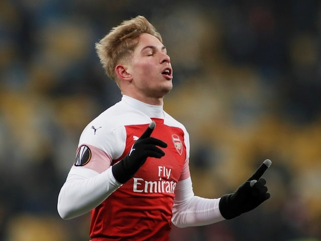 Arsenal's Emile Smith Rowe celebrates opening the scoring against Vorskla Poltava on November 29, 2018