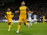 Florin Andone celebrates getting his side's second during the Premier League game between Huddersfield Town and Brighton & Hove Albion on December 1, 2018