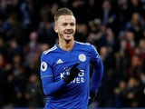 James Maddison celebrates doubling his side's lead during the Premier League game between Leicester City and Watford on December 1, 2018