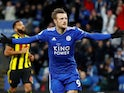 Jamie Vardy celebrates scoring from the spot during the Premier League game between Leicester City and Watford on December 1, 2018