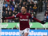Javier Hernandez celebrates scoring during the Premier League game between Newcastle United and West Ham United on December 1, 2018