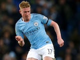 Kevin De Bruyne in action for Manchester City in the EFL Cup on November 1, 2018