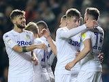 Leeds United's Stuart Dallas celebrates scoring their first goal with teammates against Reading on November 27, 2018