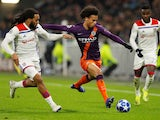 Manchester City winger Leroy Sane in action during his side's Champions League clash against Lyon on November 27, 2018