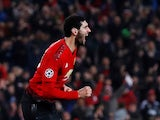 Manchester United midfielder Marouane Fellaini celebrates scoring the winner against Young Boys on November 27, 2018