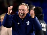Cardiff City manager Neil Warnock celebrates on November 30, 2018