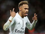 Paris Saint-Germain attacker Neymar celebrates scoring against Liverpool on November 28, 2018
