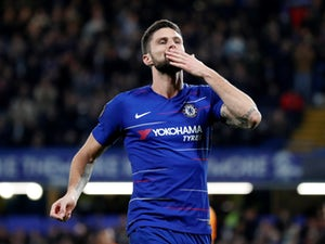 Olivier Giroud celebrates after opening the scoring for Chelsea in their Europa League meeting with PAOK on November 29, 2018