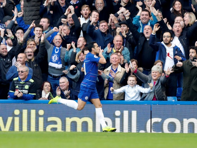 Pedro scores for Chelsea against Fulham in the Premier League on December 2, 2018