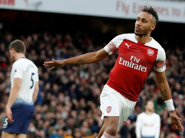 Pierre-Emerick Aubameyang celebrates Arsenal's second goal against Tottenham Hotspur on December 2, 2018