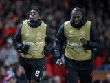 Manchester United duo Paul Pogba and Romelu Lukaku warm up during the Champions League clash with Young Boys on November 27, 2018