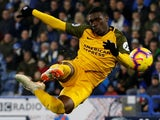 Yves Bissouma shoots ferociously during the Premier League game between Huddersfield Town and Brighton & Hove Albion on December 1, 2018