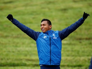 Alfredo Morelos in a Rangers training session on November 28, 2018