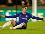 Alvaro Morata on the floor during the Premier League game between Wolverhampton Wanderers and Chelsea on December 5, 2018
