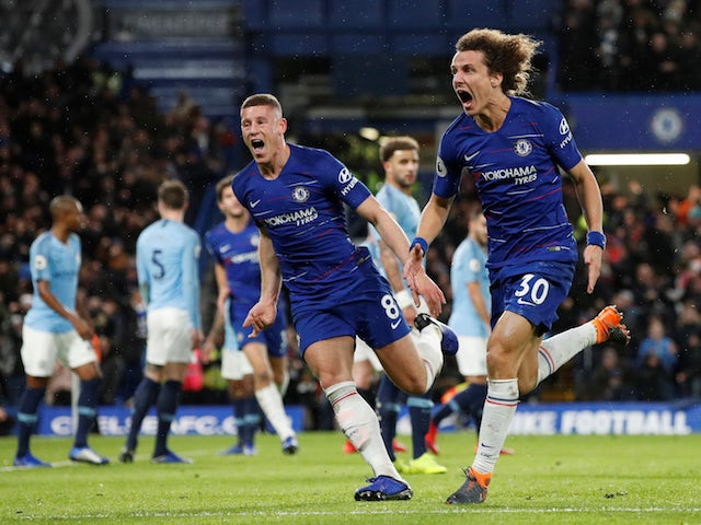 Chelsea defender David Luiz celebrates scoring against Manchester City on December 8, 2018