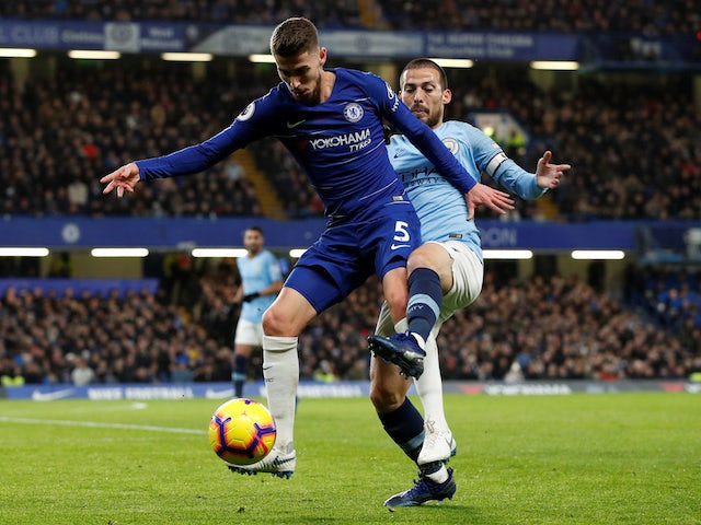Jorginho and David Silva in action during the Premier League game between Chelsea and Manchester City on December 8, 2018