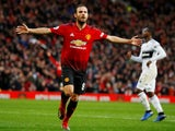 Manchester United's Juan Mata celebrates after scoring against Fulham on December 8, 2018