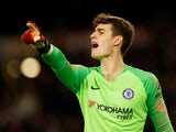 Kepa Arrizabalaga in action during the Premier League game between Wolverhampton Wanderers and Chelsea on December 5, 2018