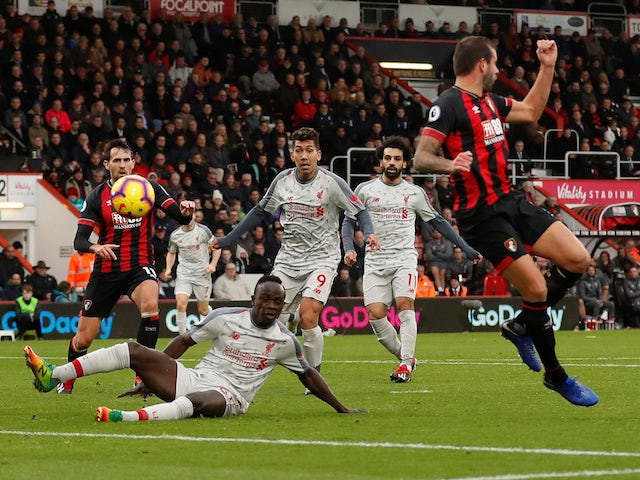 Bournemouth defender Steve Cook scores an own goal against Bournemouth on December 8, 2018