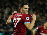 Lucas Perez celebrates scoring for West Ham United on December 4, 2018