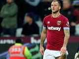 West Ham United's Marko Arnautovic is forced off on December 4, 2018