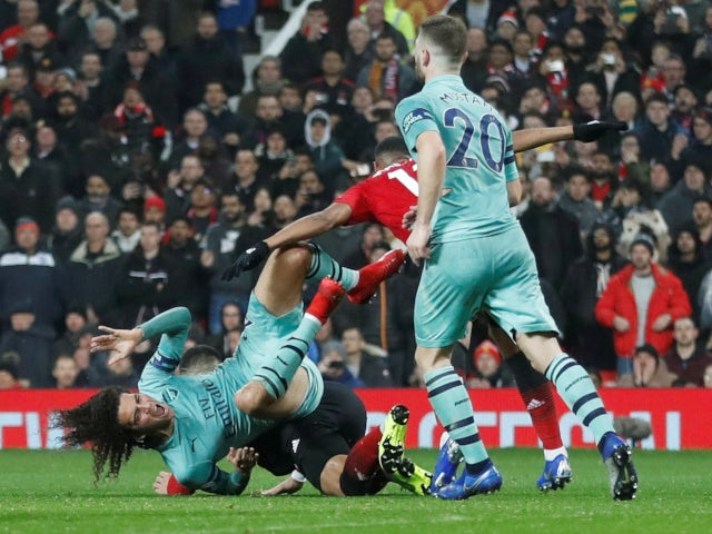 Arsenal's Matteo Guendouzi is fouled in the Premier League clash with Manchester United on December 5, 2018.