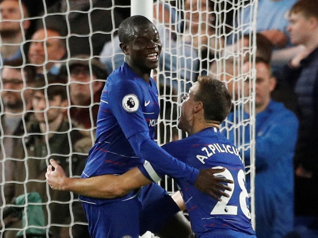N'Golo Kante celebrates scoring the opener with Cesar Azpilicueta during the Premier League game between Chelsea and Manchester City on December 8, 2018