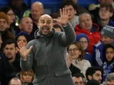 Pep Guardiola gesticulates during the Premier League game between Chelsea and Manchester City on December 8, 2018