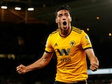 Raul Jimenez celebrates scoring during the Premier League game between Wolverhampton Wanderers and Chelsea on December 5, 2018