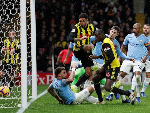 Watford score their goal against Manchester City on December 4, 2018